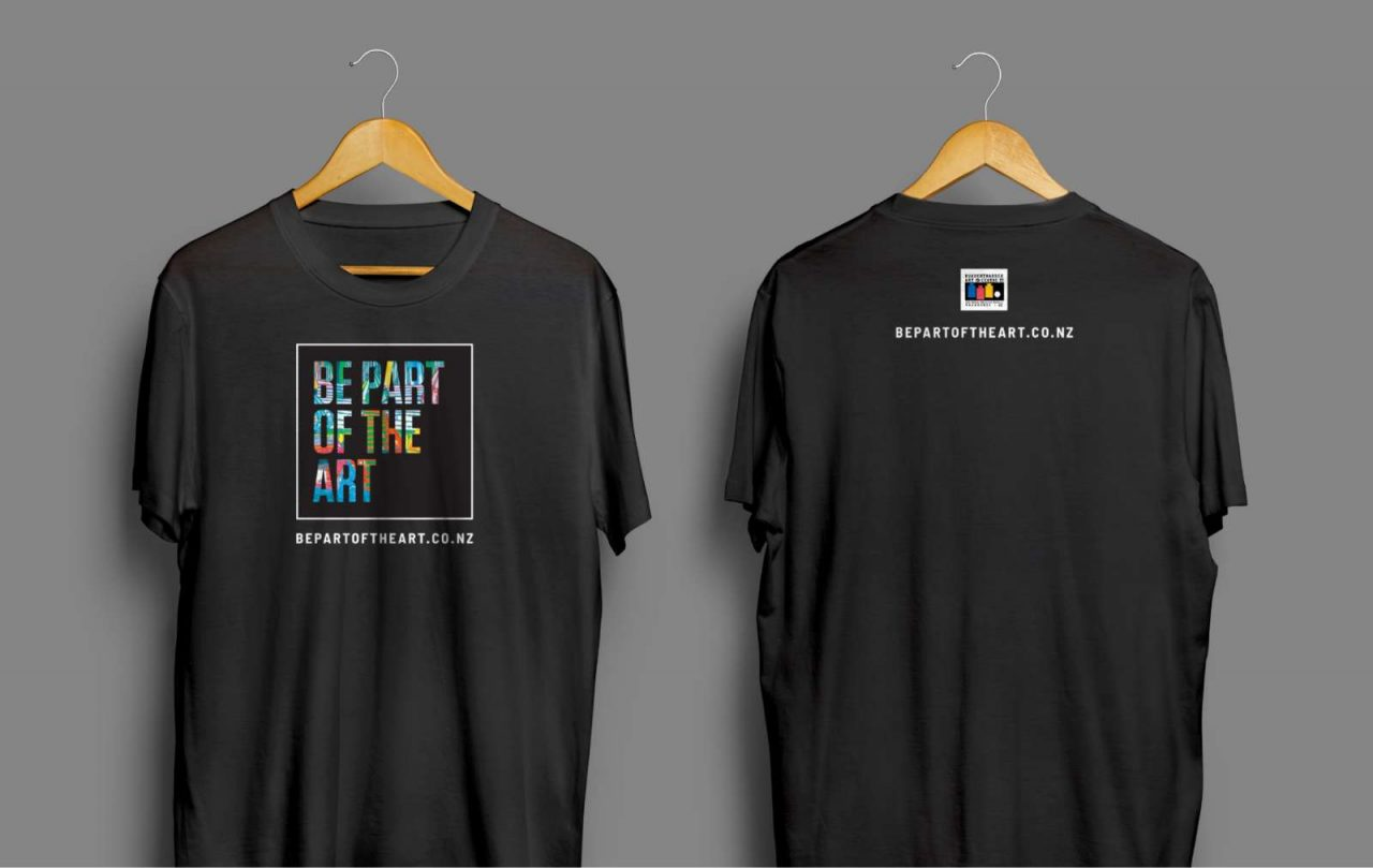 Front and rear views of Be Part of the Art T shirt