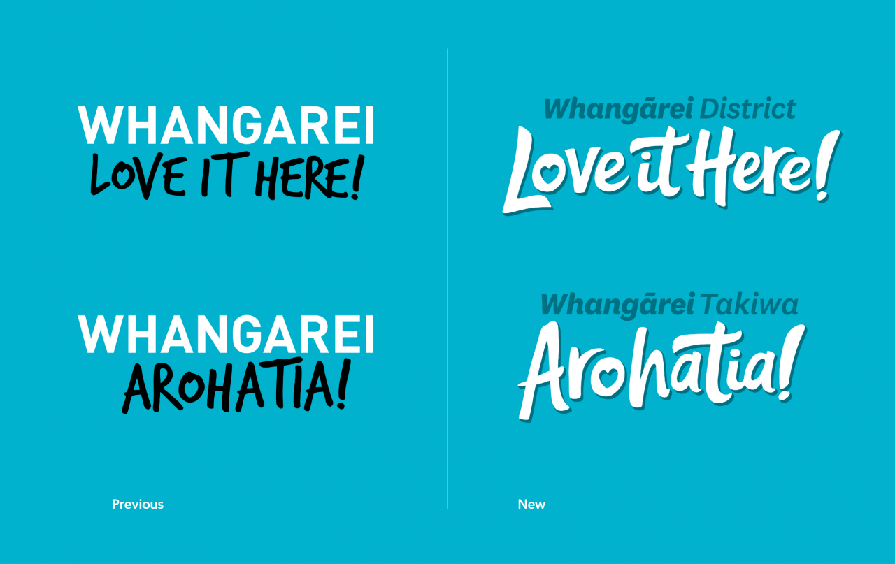 Whangarei District Love it Here logo - Old vs New