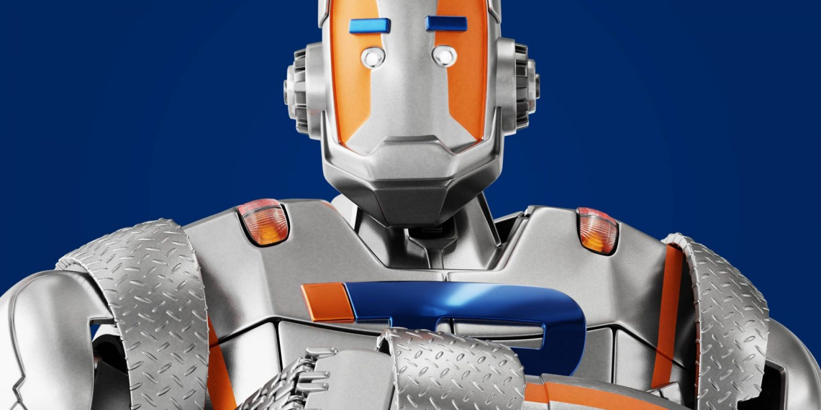 Close up of robot with arms folded - Trailparts man