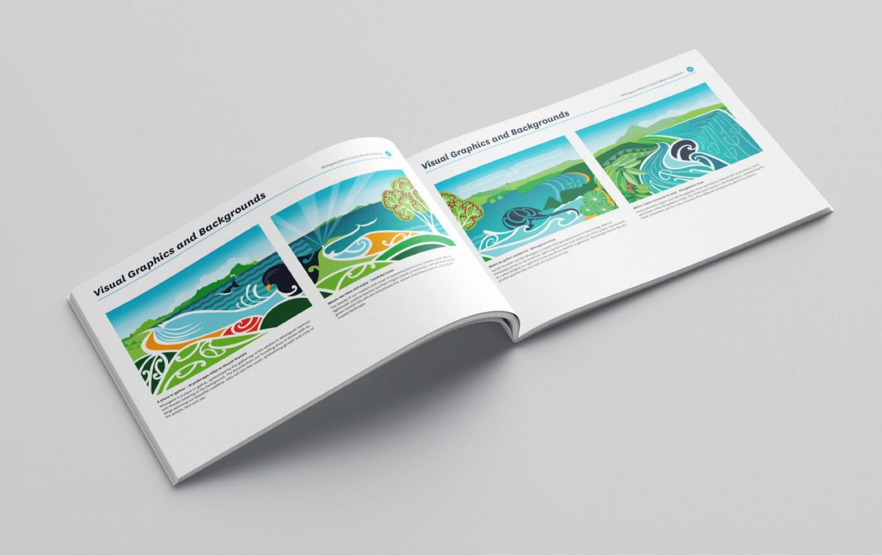 Whangarei District Council brand story booklet opened