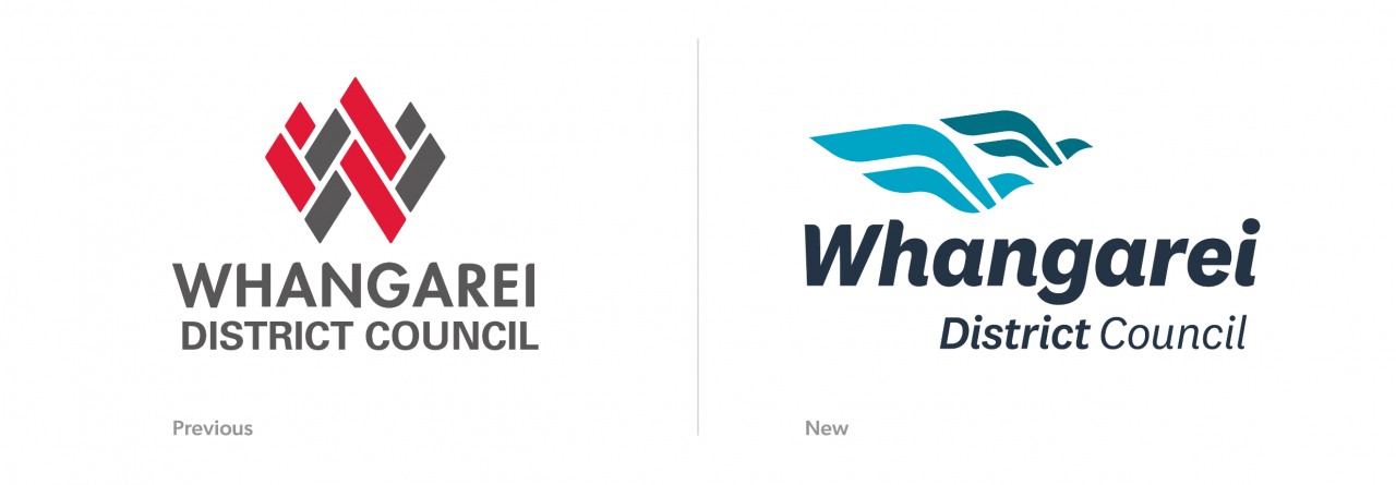 Old Whangarei District Council logo next to the new version