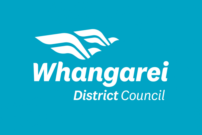 New Whangarei District Council logo in white on teal
