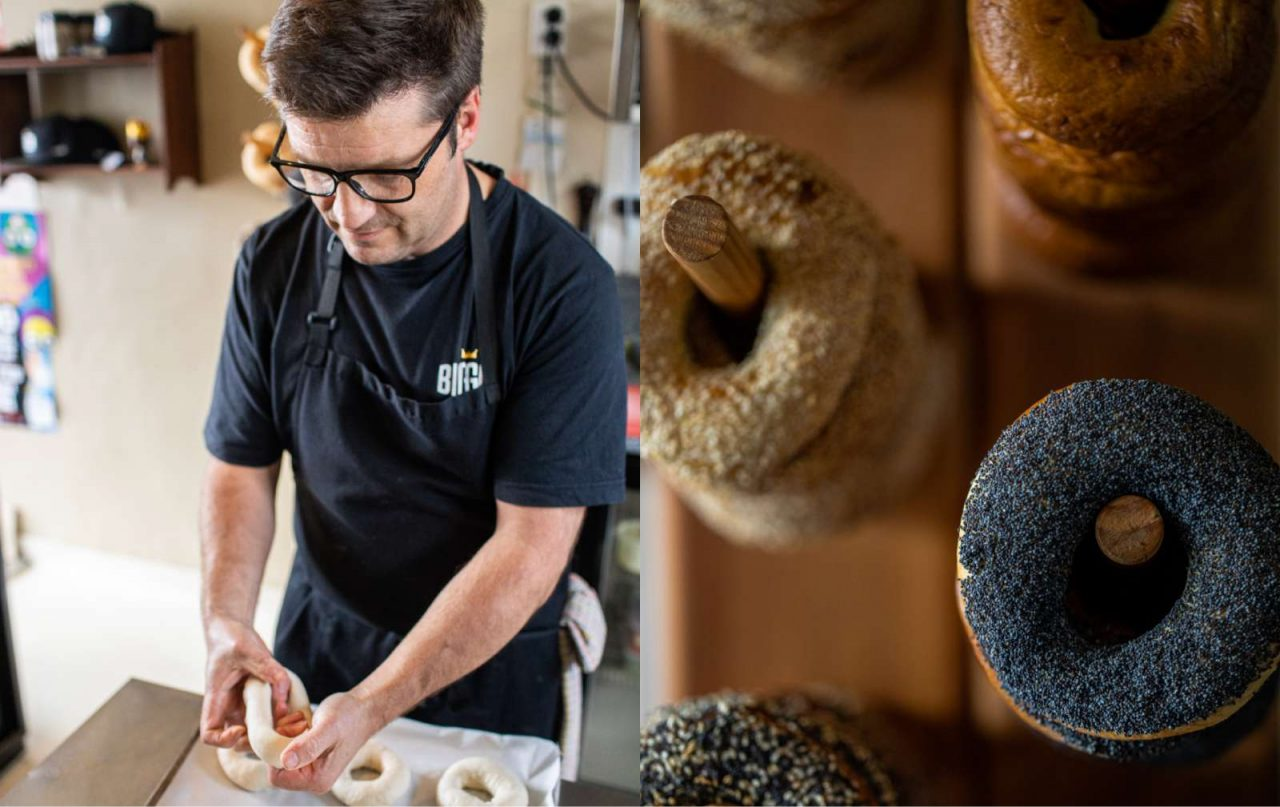 Man making fresh bagels