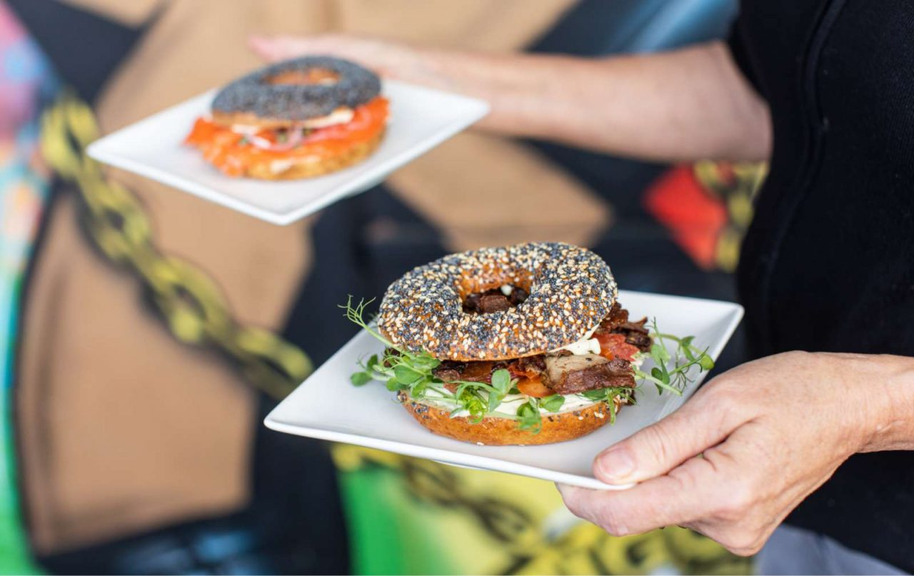 Close up of a lamb and a salmon bagel