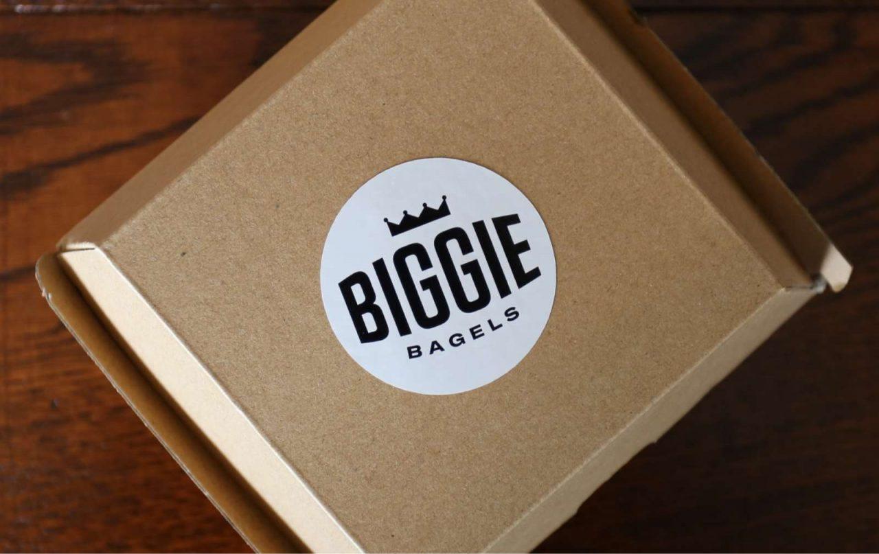 Close up of Biggie Bagel box