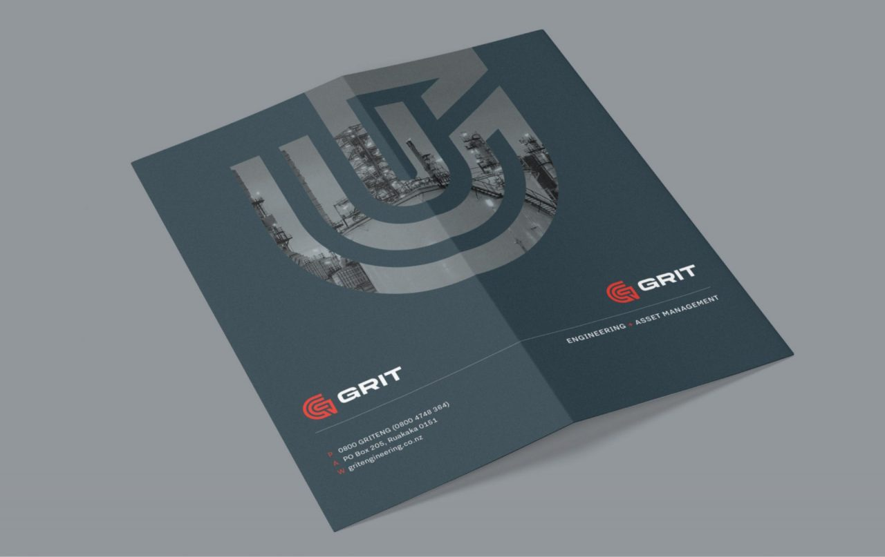Front and rear view of GRIT brochure