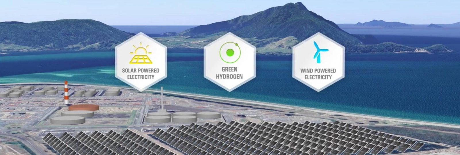 Aerial render of Refining NZ Solar Farm with Whangarei Harbour in the background
