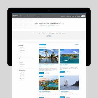 Screenshot of the Northland Tourism Product Directory