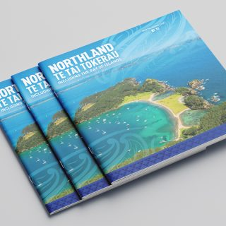 Front cover of the Northland Visitor Guide, including Bay of Islands