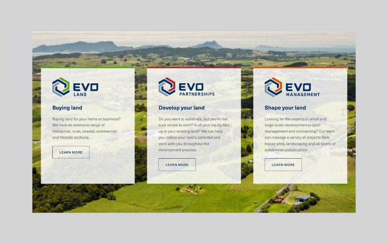 Screenshot of the EVO Holdings website